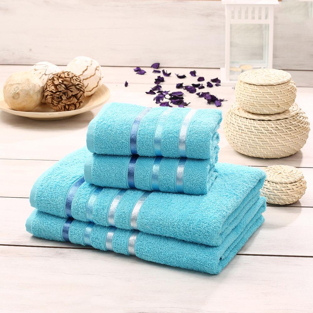 """Набор махровых полотенец Karna """"Bale"""", цвет: бирюзовый, 50 х 80 см, 70 х 140 см, 4 шт"""