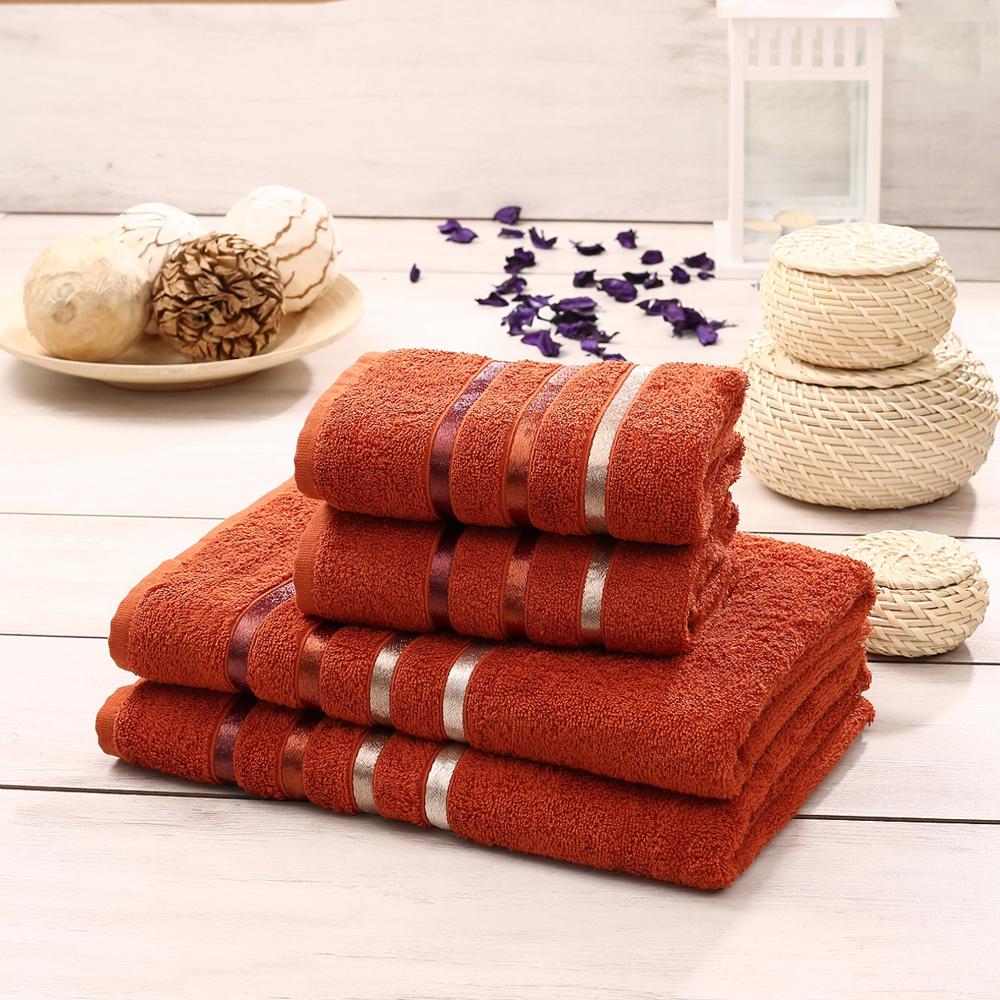 "Набор махровых полотенец Karna ""Bale"", цвет: кирпичный, 50 х 80 см, 70 х 140 см, 4 шт"