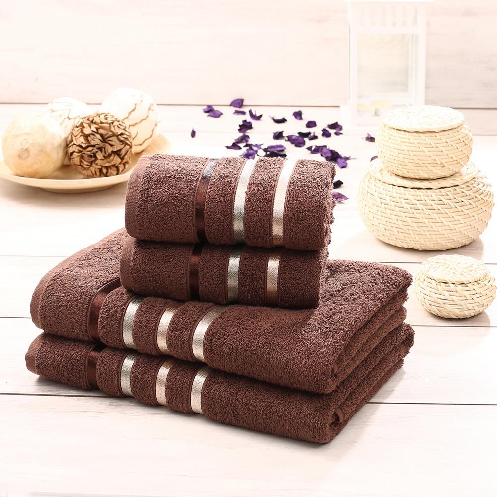"""Набор махровых полотенец Karna """"Bale"""", цвет: коричневый, 50 х 80 см, 70 х 140 см, 4 шт"""