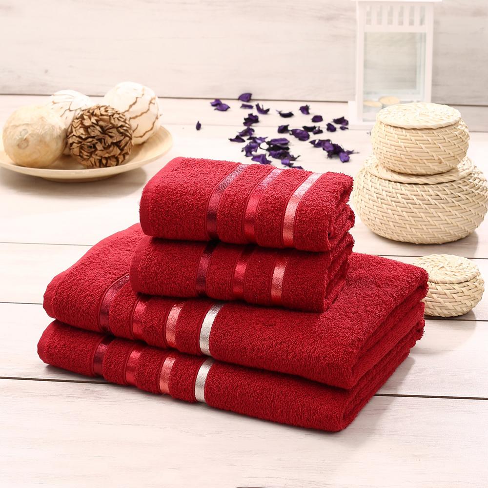 """Набор махровых полотенец Karna """"Bale"""", цвет: красный, 50 х 80 см, 70 х 140 см, 4 шт"""