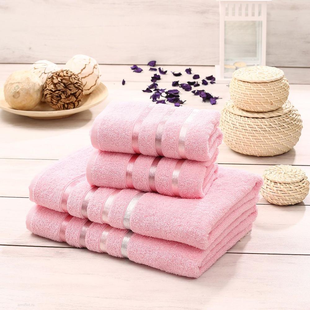 "Набор махровых полотенец Karna ""Bale"", цвет: розовый, 50 х 80 см, 70 х 140 см, 4 шт"