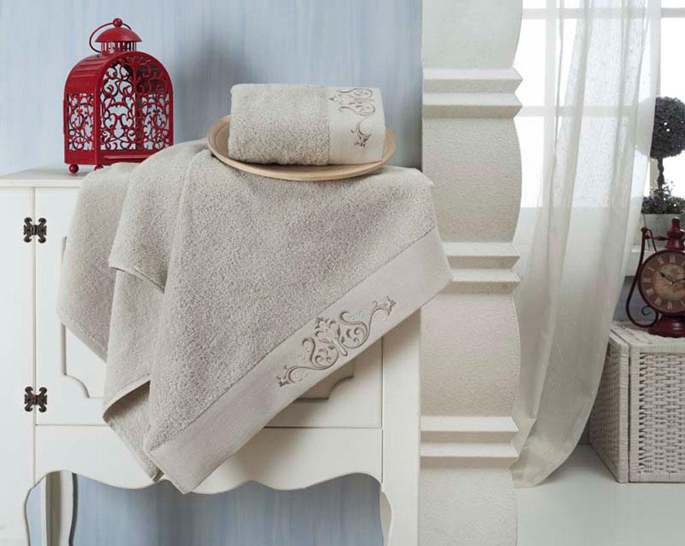 "Набор махровых полотенец Karna ""Velsen"", цвет: серый, 50 х 90 см, 70 х 140 см, 2 шт"