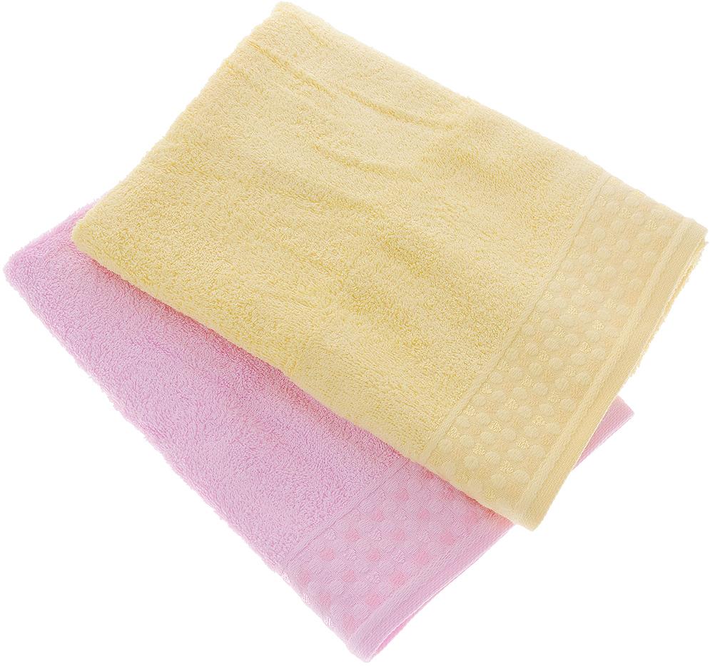 Фото - Набор полотенец Tete-a-Tete Сердечки, цвет: розовый, желтый, 50 х 90 см, 2 шт набор полотенец tete a tete лабиринт цвет зеленый 50 х 90 см 2 шт уп 009