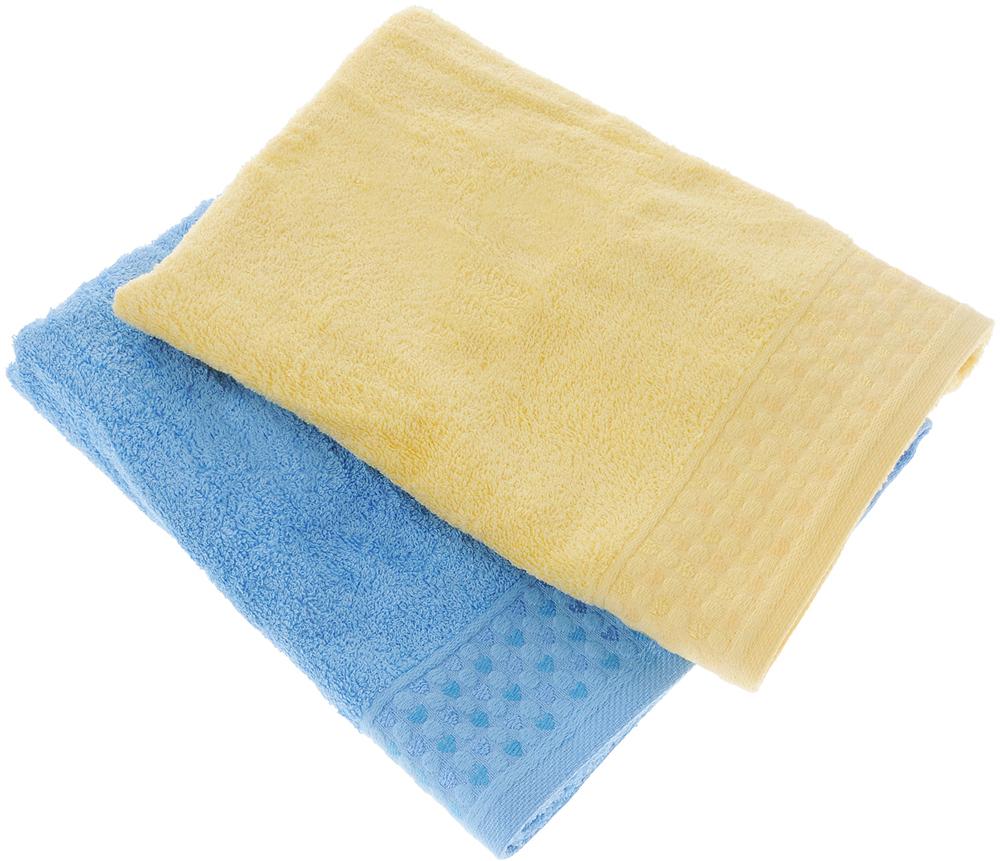 Набор полотенец Tete-a-Tete Сердечки, цвет: голубой, желтый, 50 х 90 см, 2 шт набор полотенец tete a tete сердечки цвет голубой 50 х 90 см 2 шт