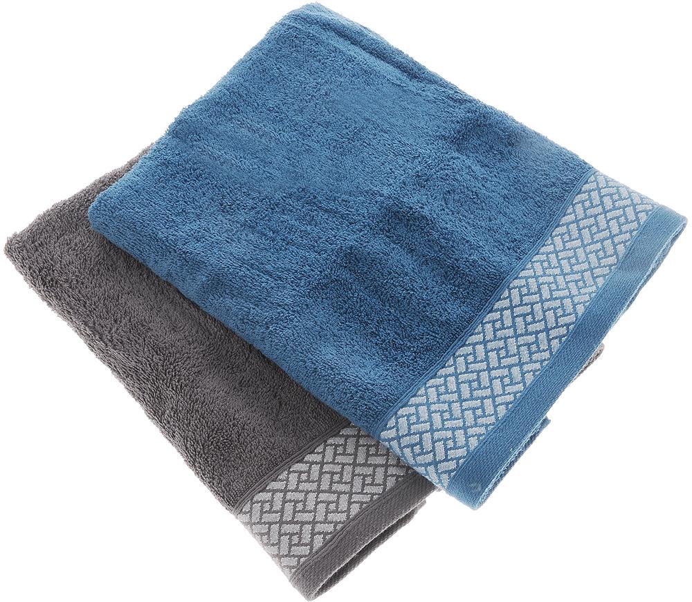 Фото - Набор полотенец Tete-a-Tete Лабиринт, цвет: серый, синий, 50 х 90 см, 2 шт набор полотенец tete a tete лабиринт цвет зеленый 50 х 90 см 2 шт уп 009