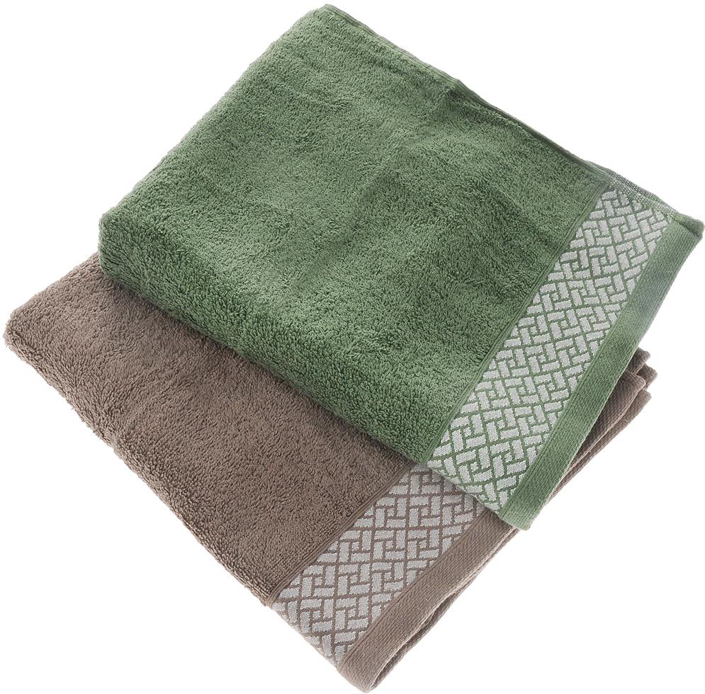 Набор полотенец Tete-a-tete Лабиринт, цвет: кофе, зеленый, 50 х 90 см, 2 шт набор полотенец tete a tete сердечки цвет голубой 50 х 90 см 2 шт