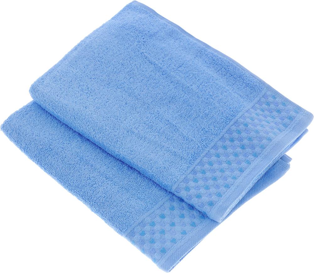 Набор полотенец Tete-a-Tete Сердечки, цвет: голубой, 50 х 90 см, 2 шт набор полотенец tete a tete сердечки цвет голубой 50 х 90 см 2 шт