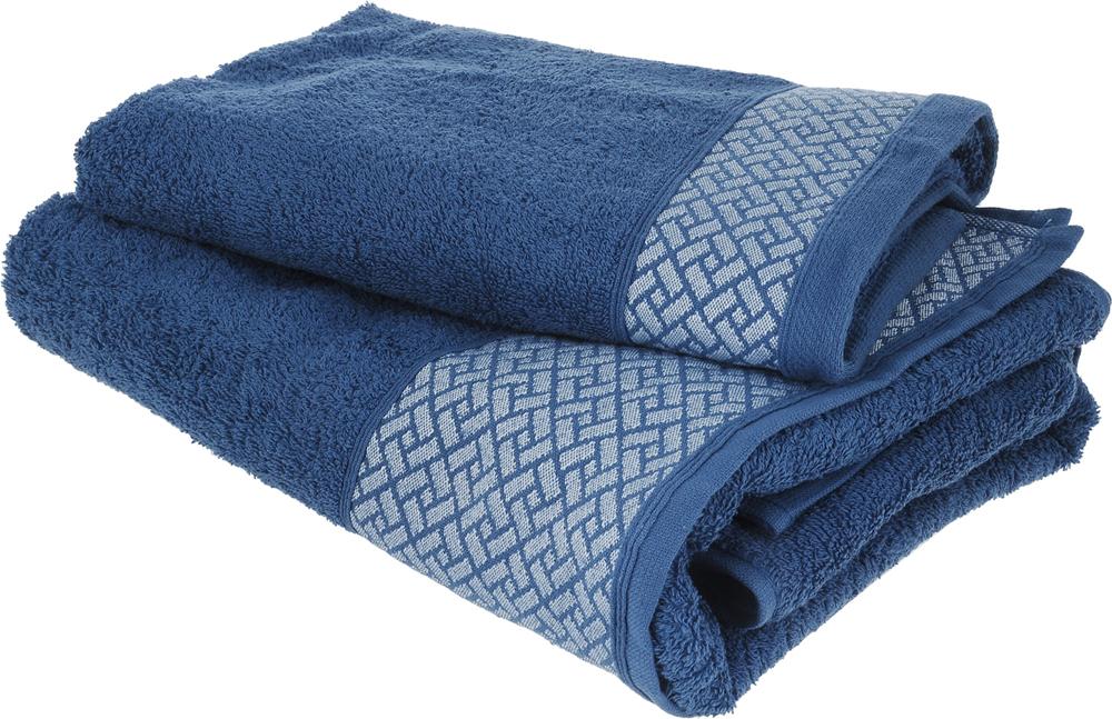 Набор полотенец Tete-a-Tete Лабиринт, цвет: синий, 2 шт. УНП-109-02к набор полотенец tete a tete сердечки цвет голубой 50 х 90 см 2 шт