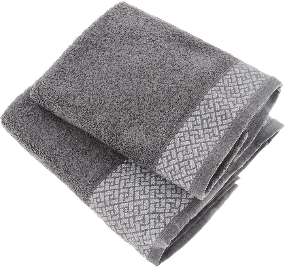 """Набор полотенец Tete-a-Tete """"Лабиринт"""", цвет: серый, 2 шт. УНП-109-03к"""