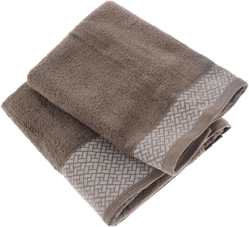 Набор полотенец Tete-a-Tete Лабиринт, цвет: кофе, 2 шт. УНП-109-02к набор полотенец tete a tete сердечки цвет голубой 50 х 90 см 2 шт