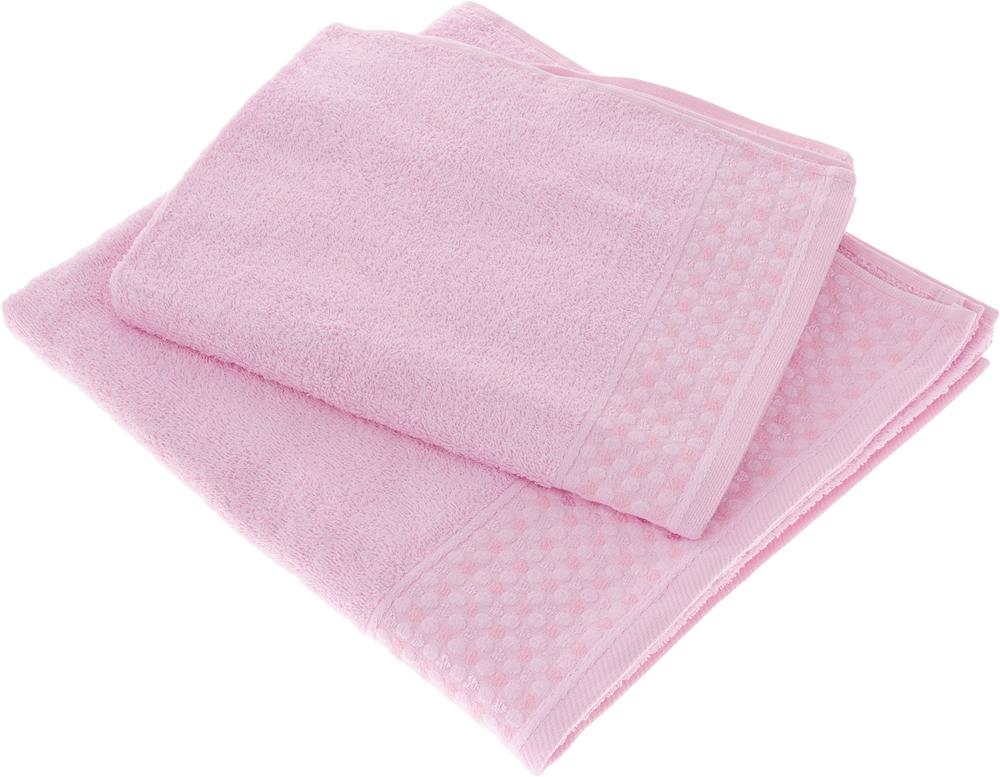 Набор полотенец Tete-a-Tete Сердечки, цвет: розовый, 2 шт. УНП-104 набор полотенец tete a tete сердечки цвет голубой 50 х 90 см 2 шт