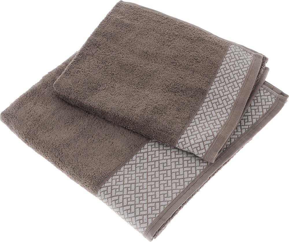 Набор полотенец Tete-a-Tete Лабиринт, цвет: кофе, 2 шт. УНП-105 набор полотенец tete a tete сердечки цвет голубой 50 х 90 см 2 шт