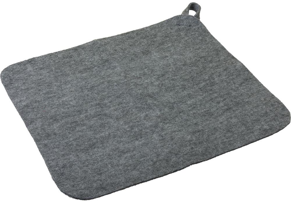 Коврик для бани и сауны Нot Pot, цвет: серый, 25,5 х 19,7 см41182Коврик для бани и сауны Нot Pot - великолепное приобретение для истинных любителей попариться. Этот аксессуар надежно защитит от горячих поверхностей полок или лавок в парной бани или сауне. Коврик выполнен из шерстяного материала - войлока, который отличается низкой теплопроводностью, что позволяет телу не перегреваться. Натуральный материал гигроскопичен, поэтому он хорошо впитывает влагу и позволяет находиться в сауне как можно дольше. Изделие имеет петельку для подвешивания, что позволит сэкономить место при хранении.