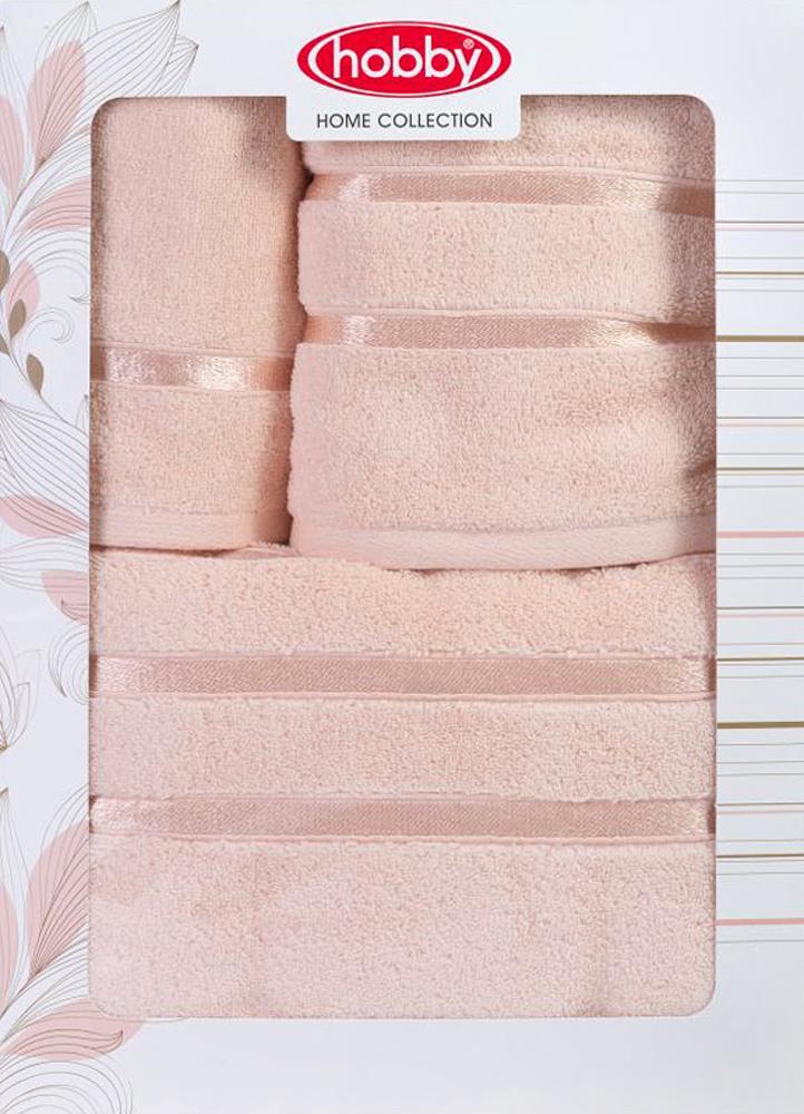 """Полотенце махровое Hobby Home Collection """"Dolce"""", цвет: персиковый, 30х50 см, 50х90 см, 70х140 см, 3 шт"""