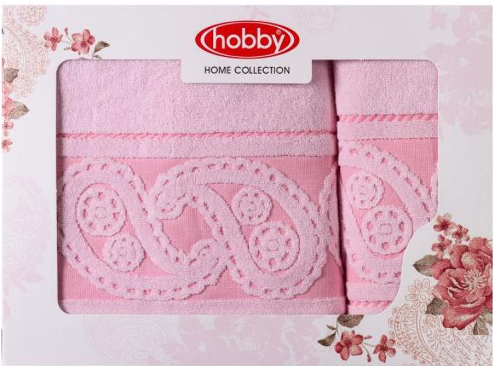 Набор полотенец Hobby Home Collection Hurrem, цвет: светло-розовый, 2 шт набор полотенец hobby home collection dolce цвет светло серый 3 шт