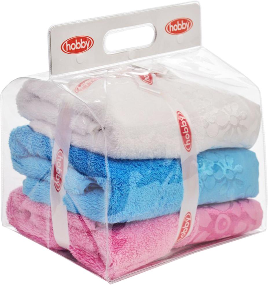 """Набор полотенец Hobby Home Collection """"Dora"""", цвет: белый, розовый, бирюзовый, 50 х 90 см, 3 шт"""