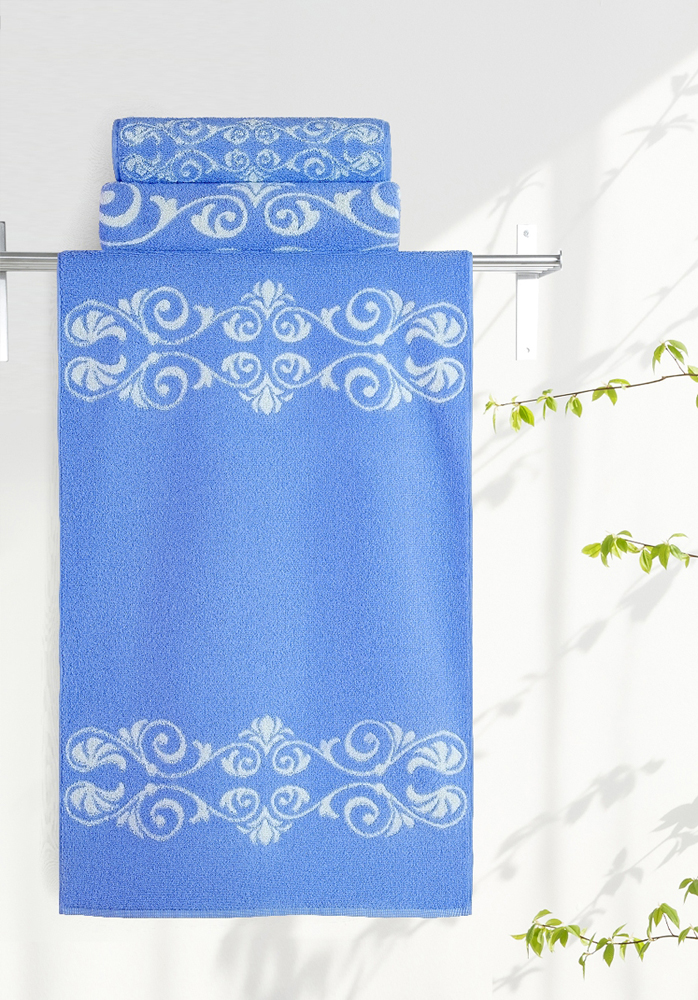 Полотенце Aquarelle Шарлиз, цвет: белый, синий, 70 х 140 см полотенце махровое aquarelle волна цвет ваниль 70 x 140 см