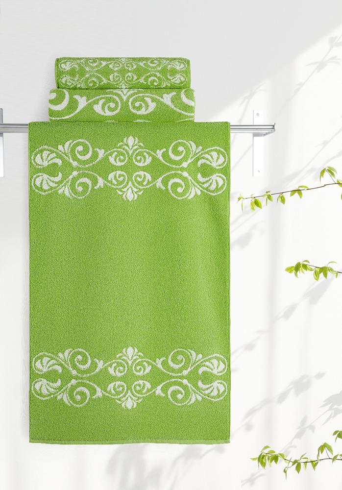 Полотенце Aquarelle Шарлиз, цвет: белый, травяной, 70 х 140 см полотенце махровое aquarelle волна цвет ваниль 70 x 140 см
