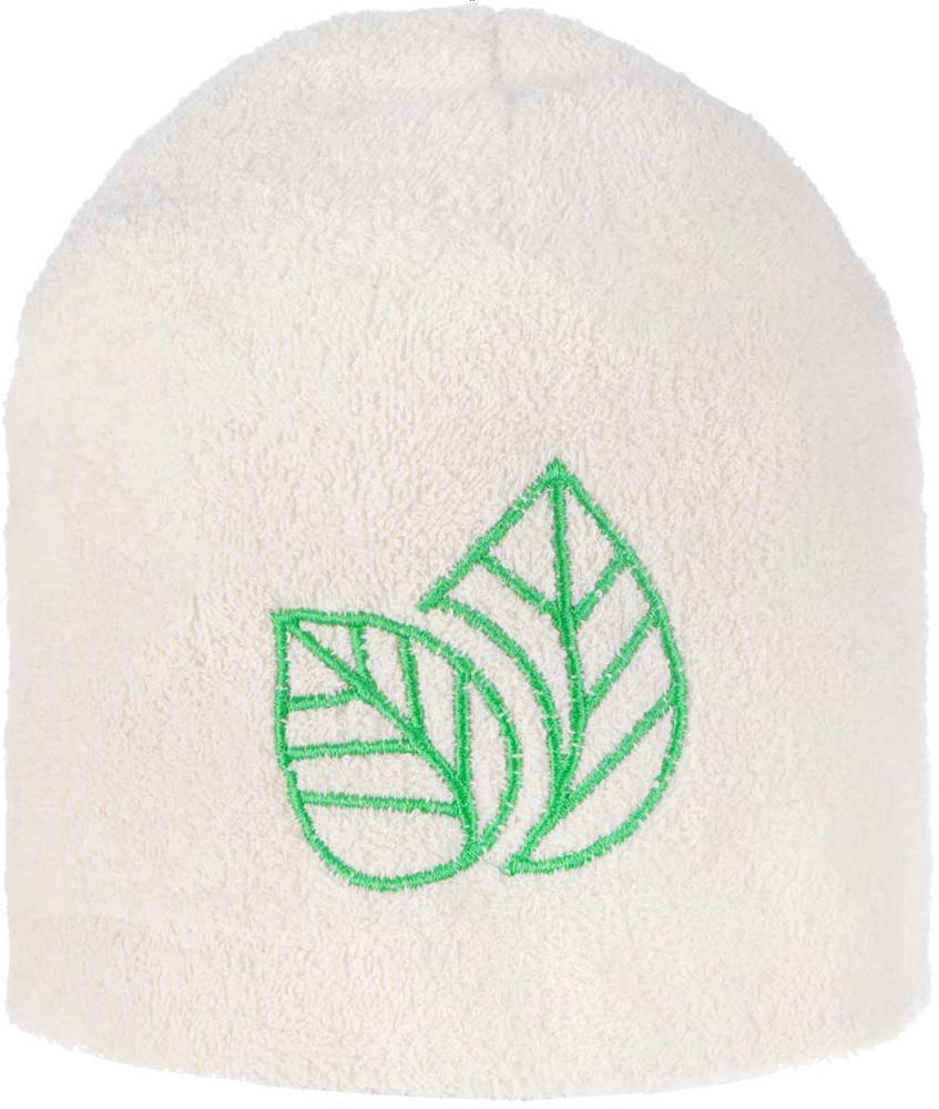 Шапка для бани и сауны Доктор Баня Листок, цвет: белый, зеленый шапка для бани и сауны доктор баня универсальная цвет темно серый