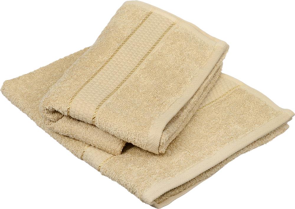 """Набор из 2-ух банных, махровых полотенец """"Aisha Home Textile"""", цвет: песочный, 50 х 90 см."""