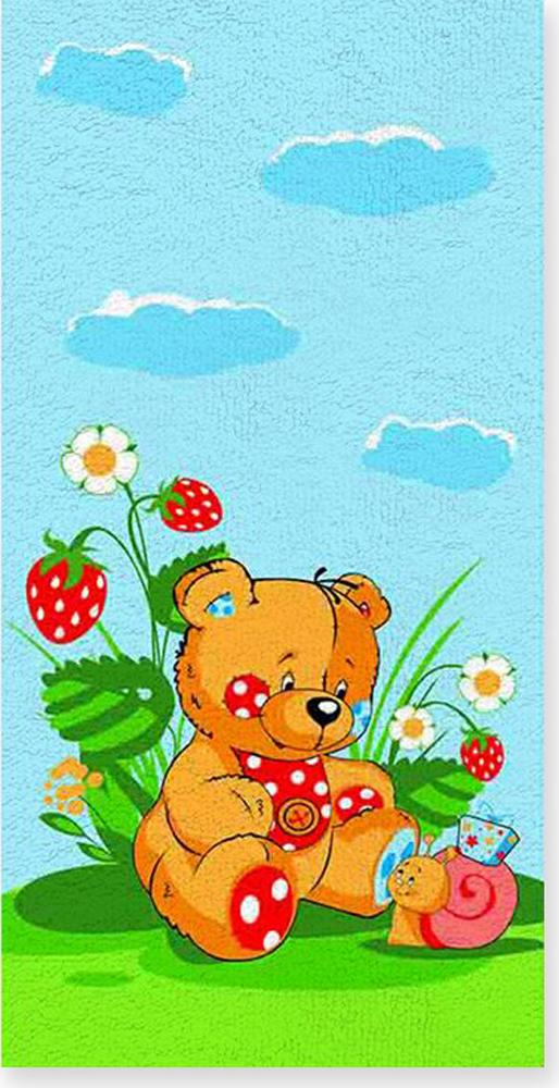 Полотенце махровое ВТ Забавный мишка, цвет: синий, 60 х 120 см. м1053_01 полотенце махровое bravo фиксики нолик цвет голубой 60 х 120 см м1079 01 m