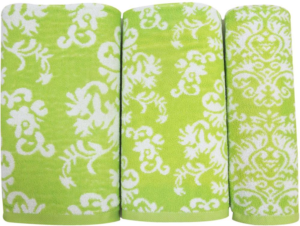 "Набор махровых полотенец Bravo ""Элиза"", цвет: зеленый, 30 х 50 см, 50 х 90 см, 70 х 140, 3 шт"