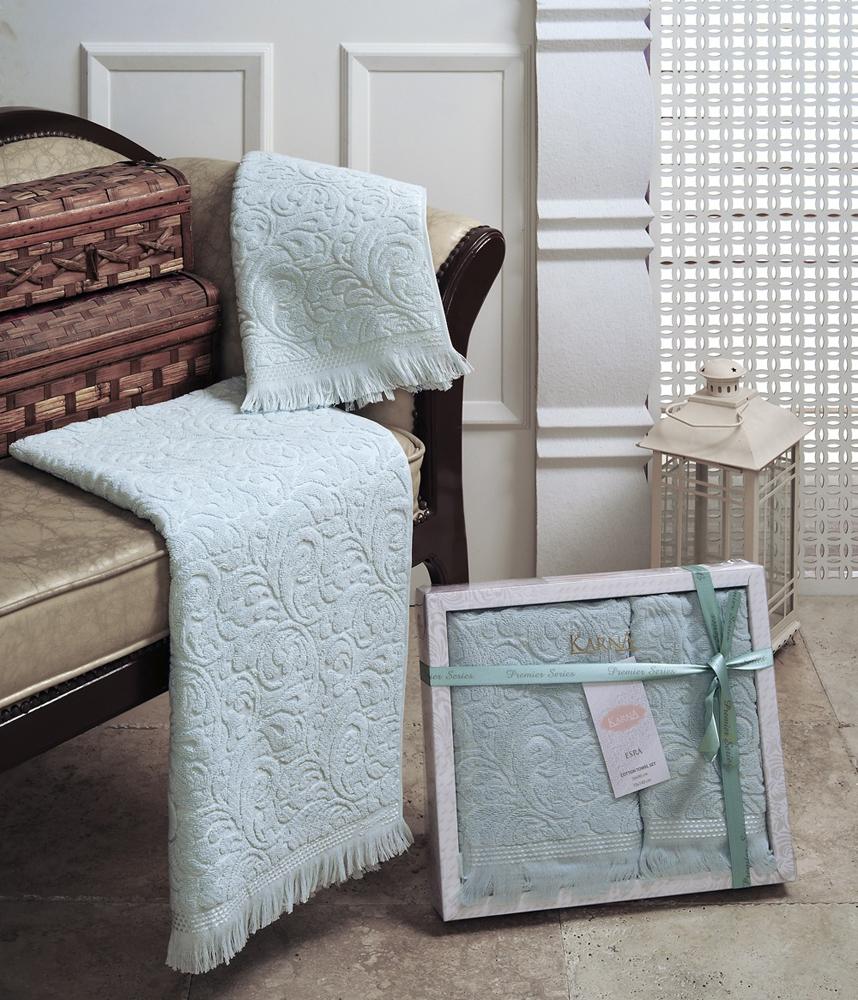 """Набор махровых полотенец Karna """"Esra"""", цвет: светло-зеленый, 50 х 90 см, 70 х 140 см, 2 шт"""