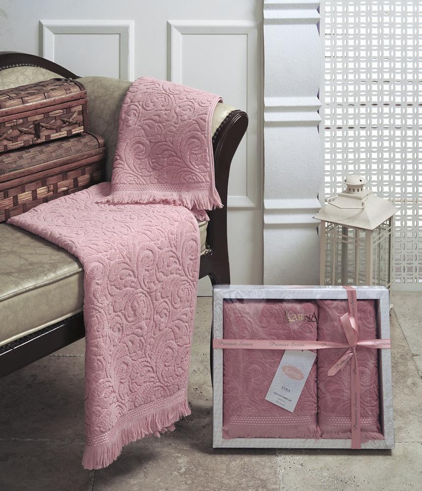 """Набор махровых полотенец Karna """"Esra"""", цвет: розовый, 50 х 90 см, 70 х 140 см, 2 шт"""