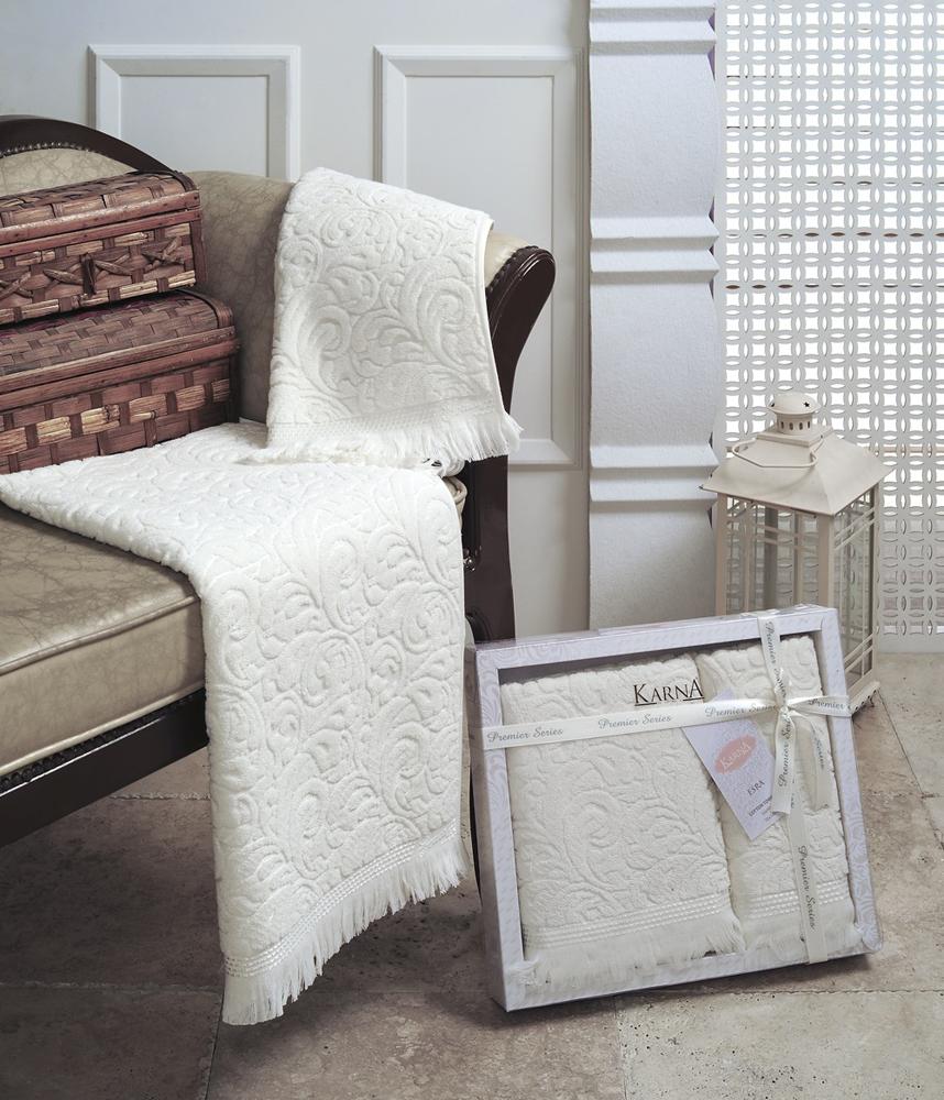 """Набор махровых полотенец Karna """"Esra"""", цвет: кремовый, 50 х 90 см, 70 х 140 см, 2 шт"""