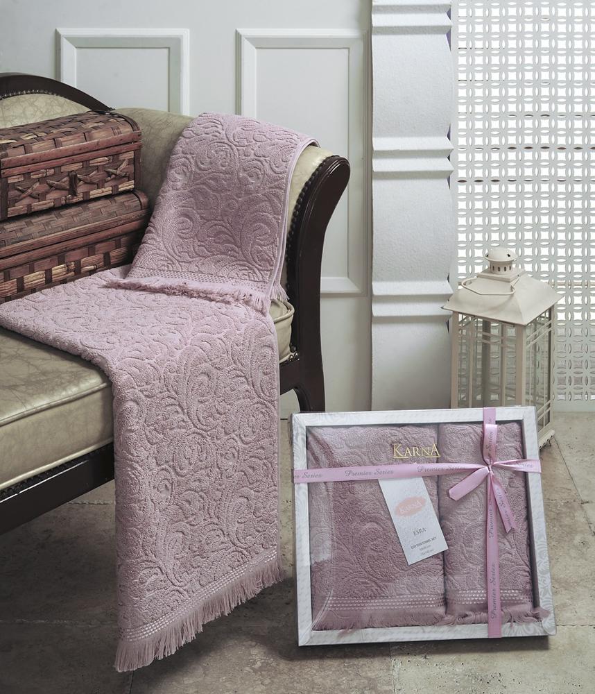 """Набор махровых полотенец Karna """"Esra"""", цвет: пыльная роза, 50 х 90 см, 70 х 140 см, 2 шт"""