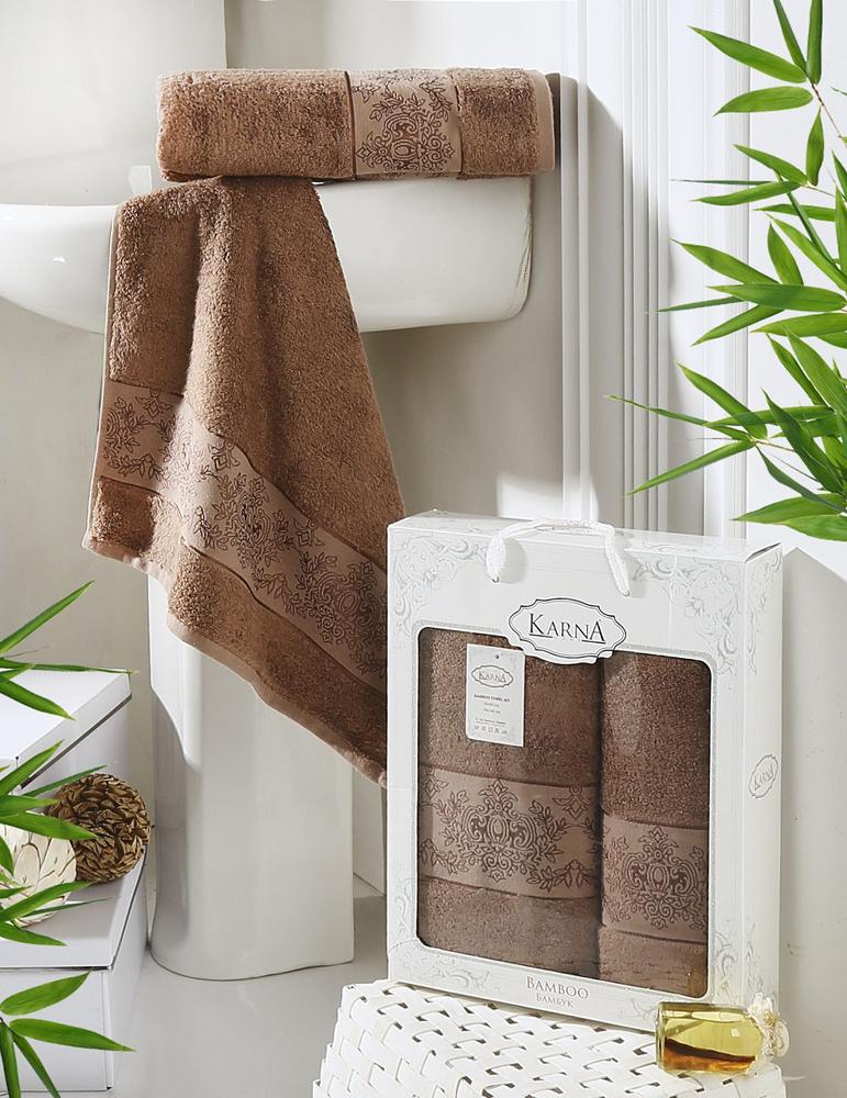 Набор полотенец Karna Pandora, цвет: коричневый, 50 х 90 см, 70 х 140 см, 2 шт набор полотенец karna demet цвет зеленый 50 х 90 см 70 х 140 см 2 шт