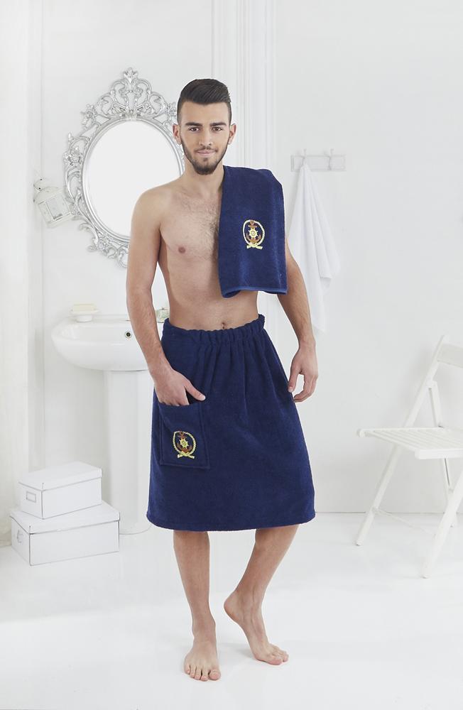Набор для сауны мужской Karna Pamir, цвет: синий, 2 предмета килт для бани и сауны eva мужской цвет оливковый