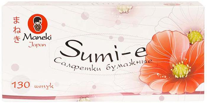 """Салфетки бумажные Maneki """"Крупные маки"""", двухслойные, цвет: белый, 21 x 19,6 см, 130 шт"""