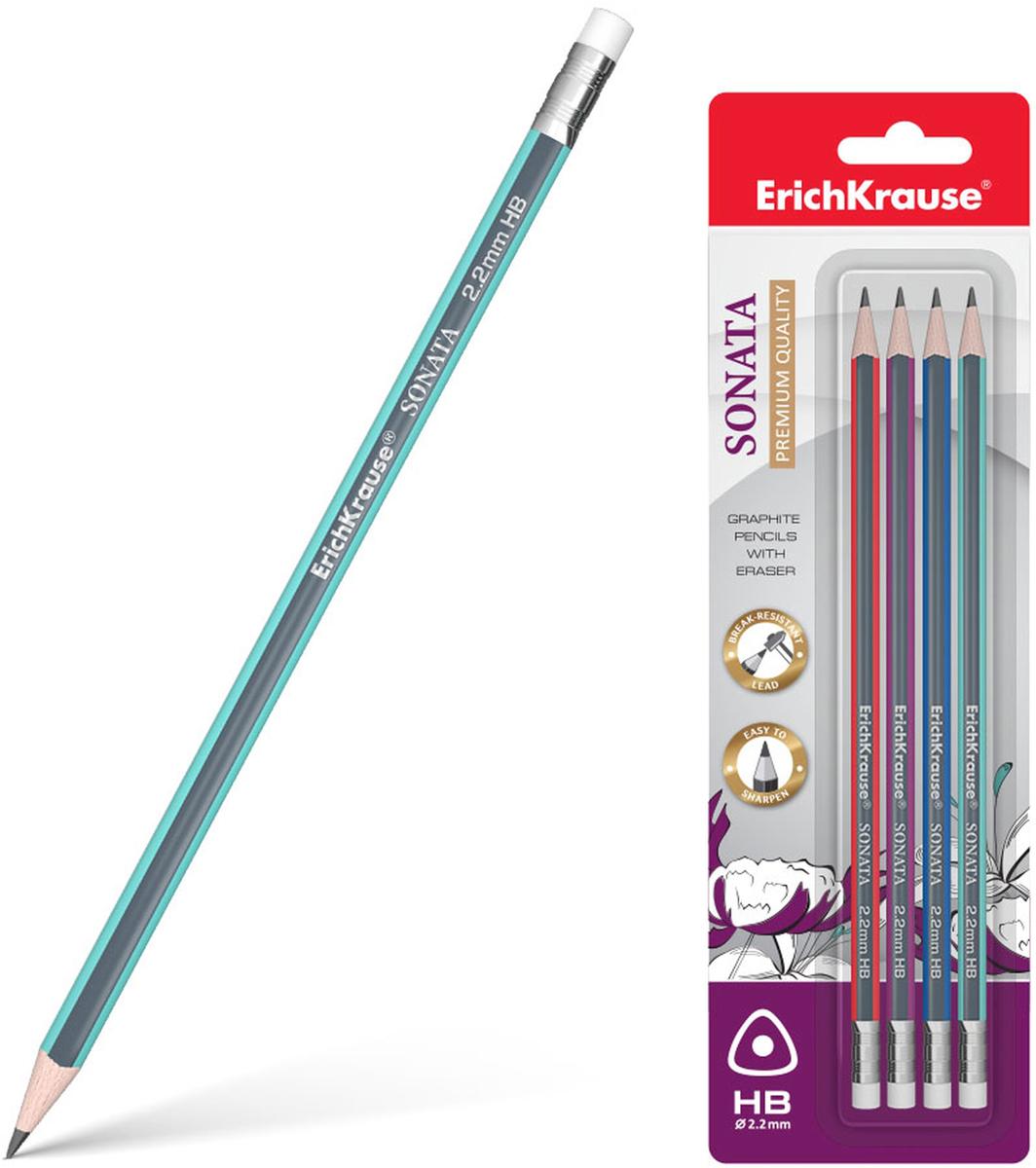цена на Чернографитный карандаш ErichKrause Sonata,трехгранный, с ластиком, HB, 4 шт