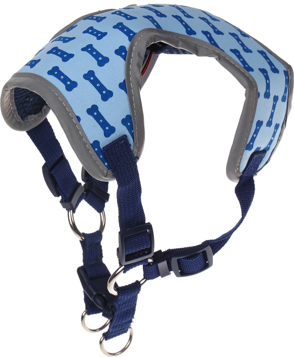 """Шлейка-ошейник нагрудная для собак """"TipTop"""", цвет: синий, размер М"""