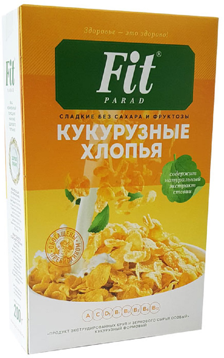 Фото - ФитПарад Кукурузные хлопья, 200 г nestle fitness хлопья из цельной пшеницы готовый завтрак 250 г пакет