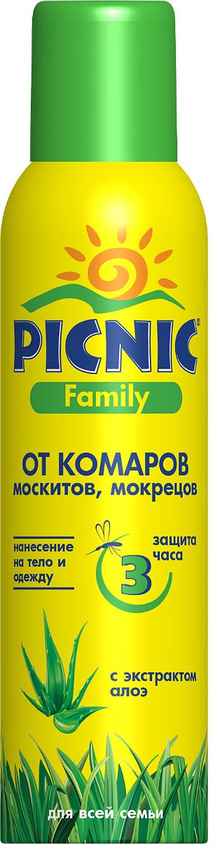 Аэрозоль от комаров Picnic Family, с экстрактом алоэ, 150 мл репелленты и пропитки rossiskaya distribou family аэрозоль репеллент от комаров 150 мл