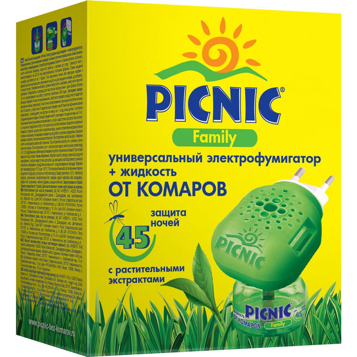 Комплект от комаров Picnic Family: электрофумигатор, жидкость от комаров на 45 ночей рейд электрофумигатор пластины от комаров 10шт
