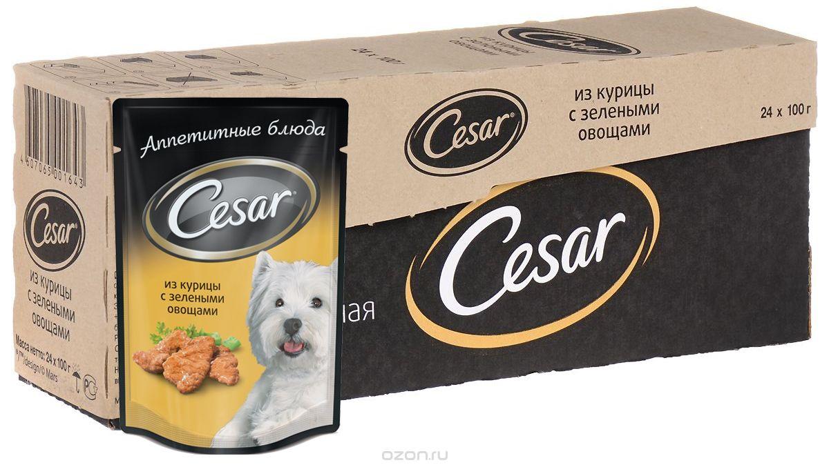 """Консервы """"Cesar"""" для взрослых собак всех пород, курица с зелеными овощами, 100 г, 24 шт"""