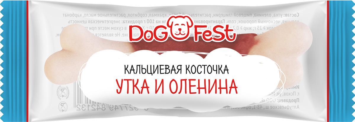 Лакомство для собак Dog Fest Кальциевая косточка с уткой и олениной, 20 шт по 7,6 г