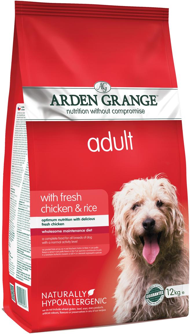 """Корм сухой """"Arden Grange"""", для взрослых собак, с курицей и рисом, 12 кг"""