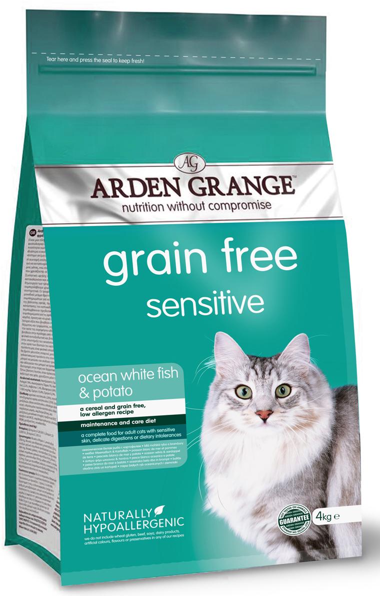 Корм сухой Arden Grange, беззерновой, для взрослых кошек с деликатным желудком и/или чувствительной кожей, 4 кг корм сухой arden grange беззерновой для взрослых кошек с деликатным желудком и или чувствительной кожей 0 4 кг