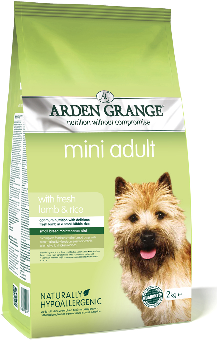 """Корм сухой """"Arden Grange"""", для взрослых собак мелких пород, с ягненком и рисом, 2 кг"""