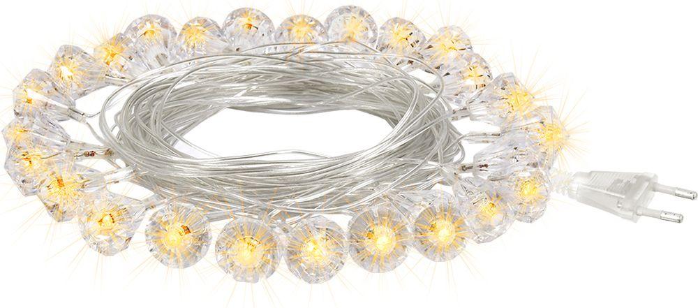 Гирлянда электрическая Vegas Бриллианты, 25 ламп, длина 5 м, свет: теплый. 55083 электрическая гирлянда светодиодная apeyron бумажная 10ламп теплый белый 1 5м