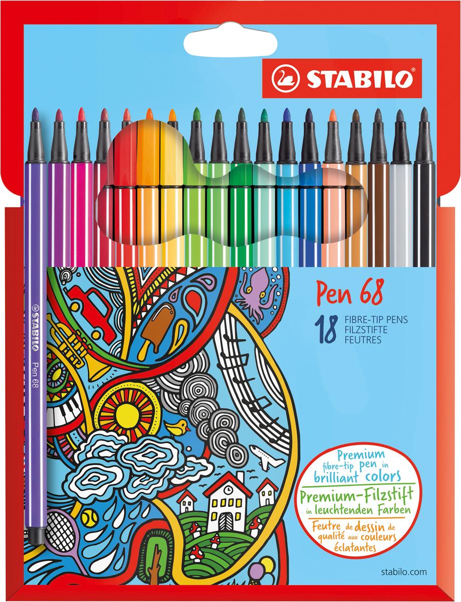 STABILO Набор фломастеров Pen 68 18 цветов