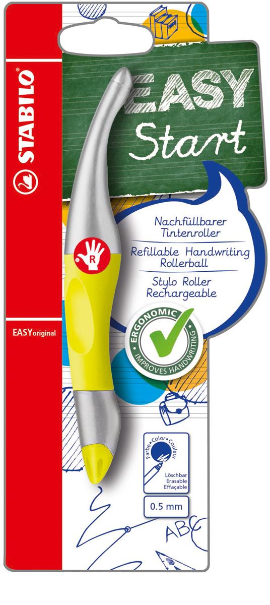 STABILO Роллер Easyoriginal Metallic для правшей, цвет корпуса неоновый желтый