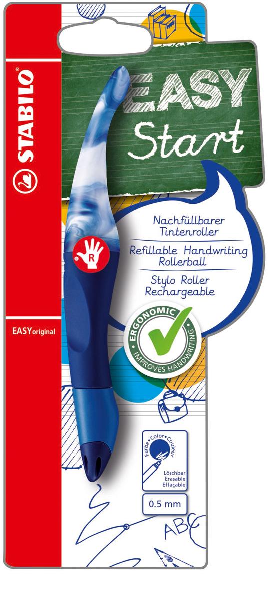 STABILO Роллер Easyoriginal Marbled для правшей, цвет корпуса мраморный синий