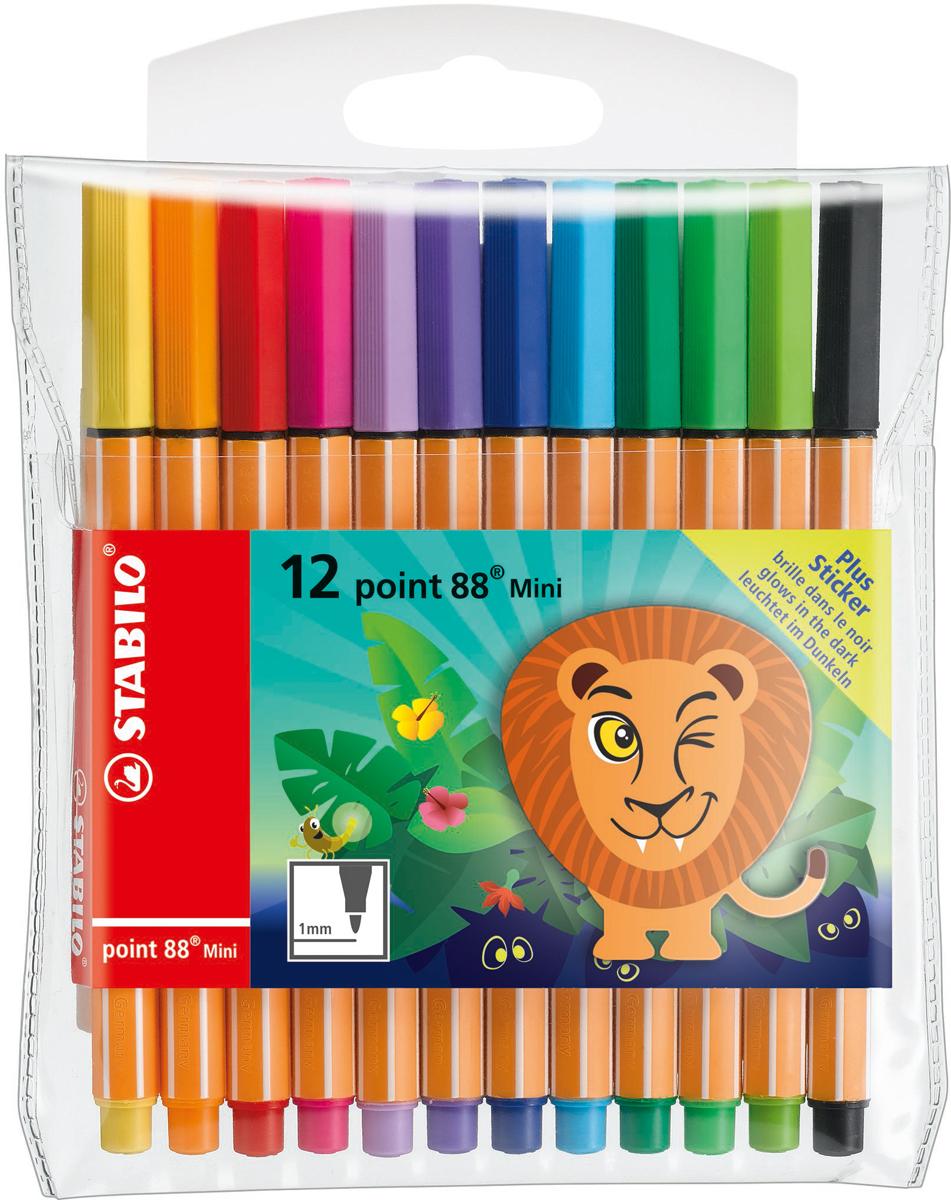 STABILO Набор капиллярных ручек Point 88 Mini Funnimals 12 цветов