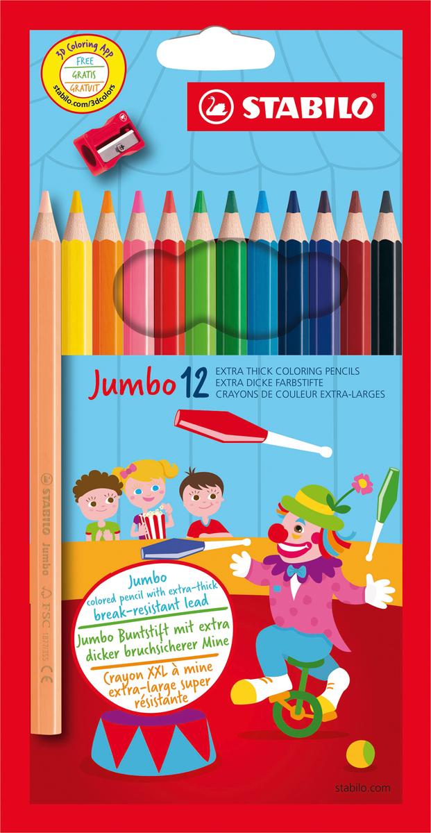 STABILO Набор цветных карандашей Jumbo утолщенные с точилкой 12 цветов