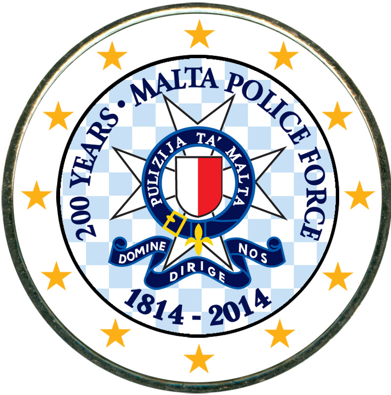 Монета номиналом 2 евро 2014 Мальта, 200 лет Полиции Мальты (цветная) монета номиналом 2 евро 2017 бельгия 200 лет университету гента цветная